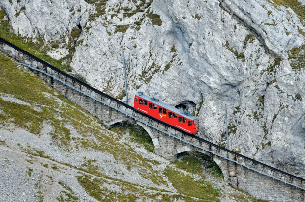 MT PILATUS RAILWAY, SWITZERLAND This 1889 engineering feat near Lucerne – which still uses the original tracks – takes ...