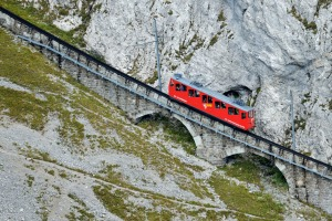 E9JKEN Pilatus Railway, the steepest rack railway in the world, Mount Pilatus, Luzern, Canton of Lucerne, Switzerland ...