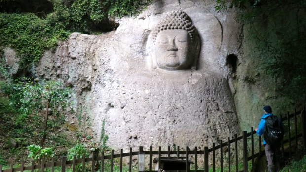 Japan's largest Buddhist rock carvings, near Kumano Shrine.