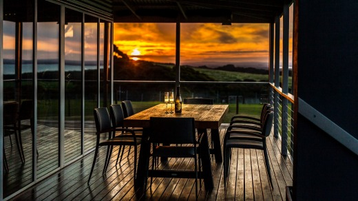 The deck at sunset.