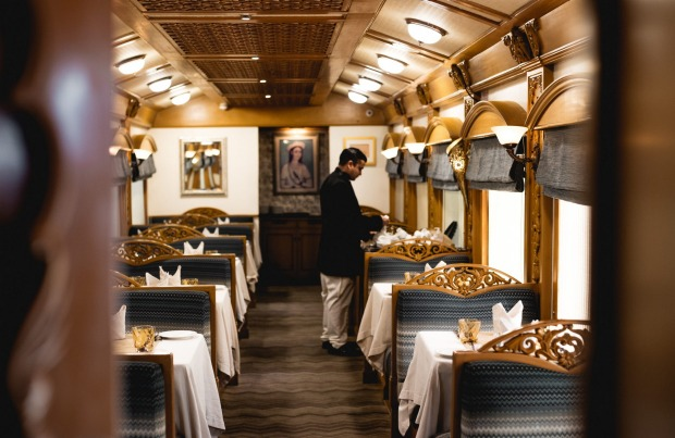 The dining car on board the Deccan Odyssey.