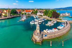 Scenic summer aerial view of the Old Town pier in Lindau, Bodensee.