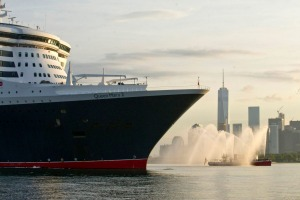 Queen Mary 2 arrives in New York.
