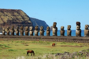 Moai at Ahu Tongariki (Easter island, Chile).