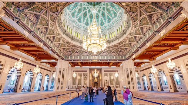 Sultan Qaboos Grand Mosque in Muscat, Oman, is a delight for the eyes.