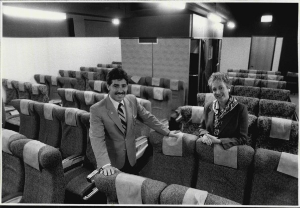 Qantas husband wife flight attendants Nello and Camille Valvo in the training centre for the the Boeing 747 in 1986.