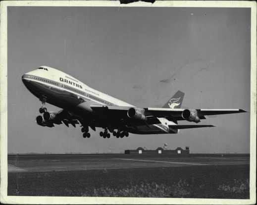 The Qantas 747B, the City of Canberra, takes off in 1972.