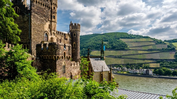 The Rheinstein Castle is one of many forts to be spotted as you travel through the Rhine Valley in Germany.