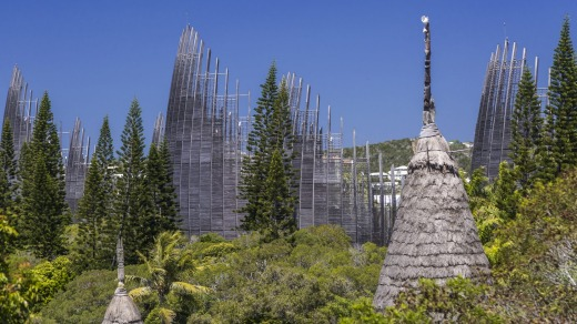The Ngan Jila Centre Culturel Tjibaou in Noumea is a cultural center built by Renzo Piano to celebrate the indigenous ...