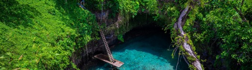 To Sua ocean trench, a famous swimming hole in Samoa, South Pacific.
