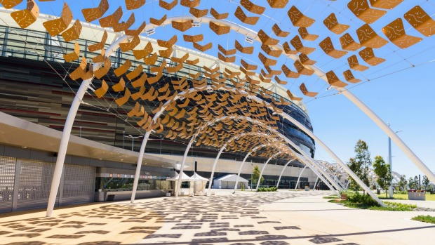 The new, state-of-the-art Optus Stadium in Perth is among the city's many interesting buildings.