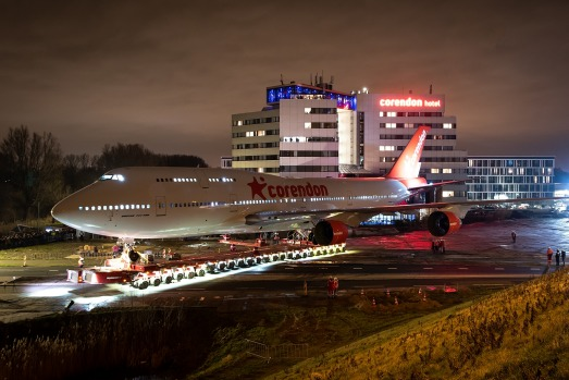 Corendon Hotels has transported a retired Boeing 747 jumbo jet 12.5 kilometres from Schiphol Airport Amsterdam across ...
