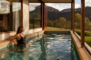 Guests can admire the landscape and wildlife from a heated pool.