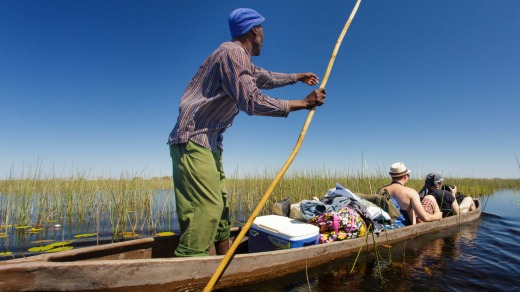 Travelling in traditional Okavango style.