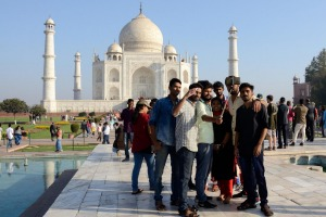 It's selfie central at the Taj Mahal.