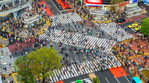 Shibuya Crossing, one of the busiest pedestrian crossings on Earth.