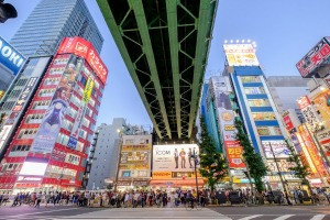 The Yamanote Line heads into the Akihabara district.