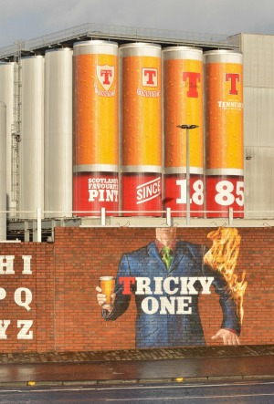 A mural on the outside of the Wellpark Brewery, maker of Glasgow's famous Tennent's beer.