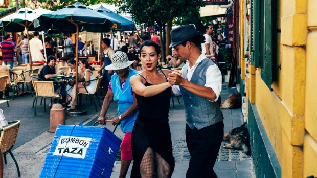 Tango dancers performing in the streets of Buenos Aires.