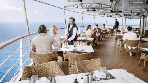 Lunch on the terrace on Silversea's Silver Muse.