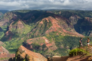 Lookout over Waimea Canyon in Hawaii, US.