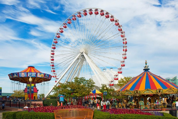 Navy Pier, Chicago: It sticks out into Lake Michigan, there's a big wheel you can have a ride on, and there's some ...
