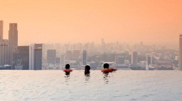 Marina Bay Sands resort's 57th-floor pool in Singapore.