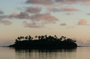 Tropical island at sunset, Rarotonga Island, Cook Islands.