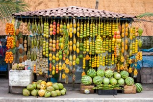 Stall selling fruit in Rio.