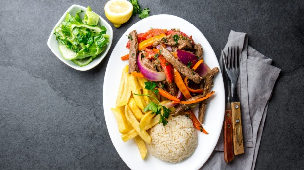 Lomo saltado, a stir-fry with beef, onions, tomatoes, chips and rice is a local favourite.