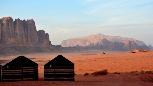"""Wadi Rum, a vast Martian ocean of sand and furious-looking mountains, was used as a backdrop for movies such as """"Star ..."""