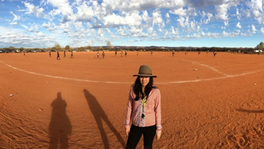 No grass on the footy field in the tiny remote community of Mount Leibig, NT.