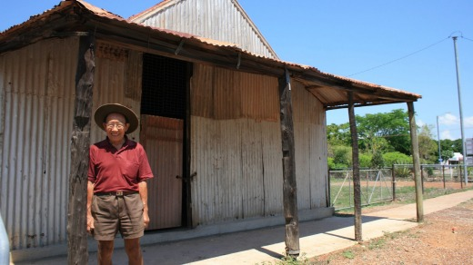 Third-generation Chinese Australian Eddie Ah Toy in front of his family's colonial-era bakery in Pine Creek, NT.