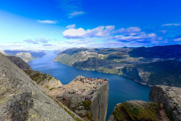 This massive slab called Pulpit Rock hangs over the Lysefjord, which glitters a vertiginous 604 metres below.