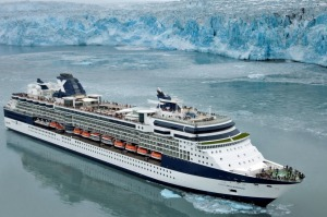 Celebrity Millennium sails by the Hubbard Glacier in Alaska.