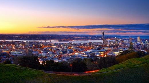 An evening view of Auckland city from Mount Eden.