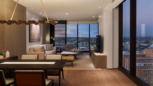 A suite with views across the Perth rooftops.