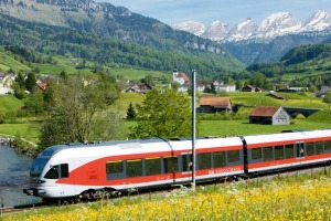 The Suedostbahn (SOB) along the Thur river near Neu St. Johann in the Toggenburg valley.