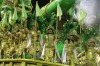 Dancers from the Academicos do Tatuape samba school perform on a float during a carnival parade in Sao Paulo, Brazil.