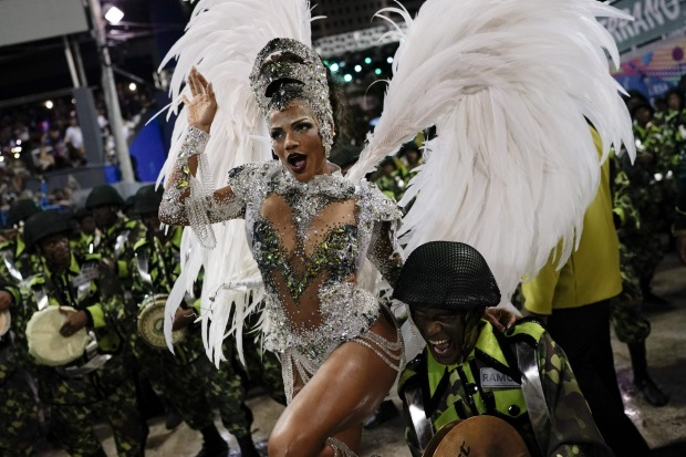 Drum queen Quiteria Chagas from the Imperio Serrano samba school performs during Carnival celebrations at the Sambadrome ...