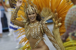 Drum queen Elaine Azevedo from the Unidos da Tijuca samba school performs during Carnival celebrations at the Sambadrome ...