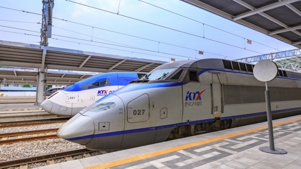 South Korea's high-speed bullet trains (KTX) and Korail trains at the Seoul station.