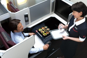 JAL's business class cabin.