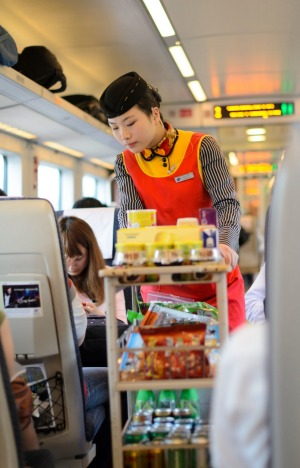 Drinks and snacks service on the high-speed train.