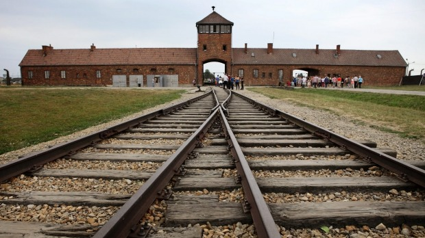 The railway tracks leading to Auschwitz.
