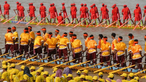 Long boat races during the Water Festival in Phnom Penh.