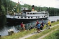 A ferry makes its way up Norway's Telemark Canal.