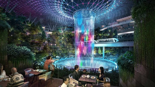 Jewel's 'rain vortex' is its indoor waterfall.