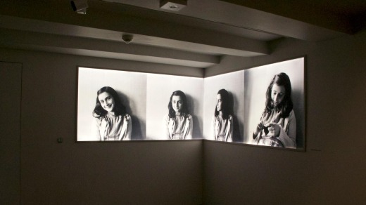 Photos of Anne Frank at Anne Frank House Museum in Amsterdam.