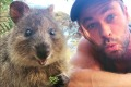 Chris Hemsworth quokka selfie at rottnest island